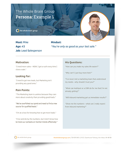 Example of a designed buyer persona
